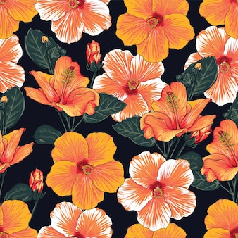 Seamless pattern floral with hibiscus flowers background illustration