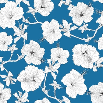 ハイビスカスの花と花のシームレスなパターン