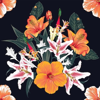 Seamless pattern floral with hibiscus and lilly flowers background