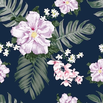 Seamless pattern floral with hibiscus and orchid flowers background.