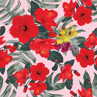 Seamless pattern floral with hibiscus and orchid flowers on isolated gray background. illustration hand drawn.