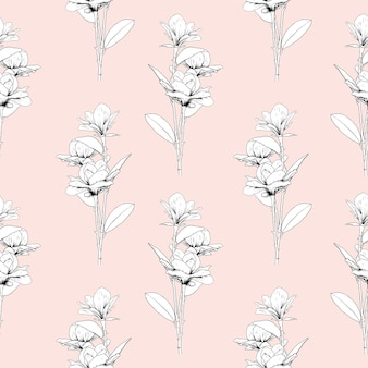 Seamless pattern floral with magnolia flowers on pink pastel background