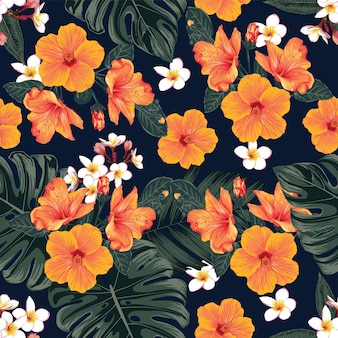 Seamless pattern floral with monstera leaves and hibiscus,frangipani flowers abstract background. illustration hand drawn.