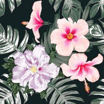 ピンクのパステルハイビスカスの花と花のシームレスなパターンは、背景を抽象化します。ベクトルイラスト手描き。ファブリックファッションプリントデザインや製品のパッケージングに。