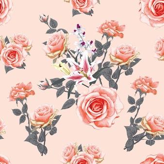 ピンクのパステルローズとユリの花の抽象的な背景と花のシームレスなパターン。