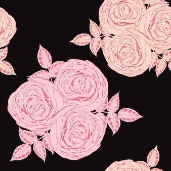 ピンクのバラの花の背景と花のシームレスなパターン。