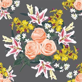 Бесшовный цветочный узор с розовыми розами, орхидеями и цветами лилии абстрактный фон. иллюстрация акварель рисованной.