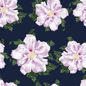 紫色のハイビスカスの花の背景と花のシームレスなパターン。