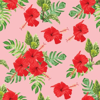 Seamless pattern floral with red hibiscus flowers