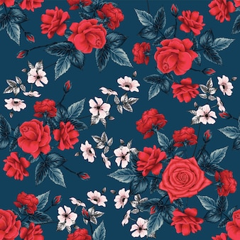 Seamless pattern floral with red rose flowers abstract background.