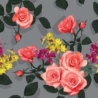 バラと蘭の花の抽象的な背景と花のシームレスなパターン。イラスト手描き。