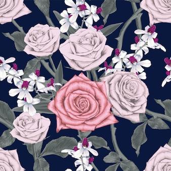 バラと蘭の花の抽象的な背景と花のシームレスなパターン。
