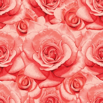 Seamless pattern floral with rose flowers vintage abstract background.