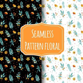 シームレスなパターンの花と葉の小さな水彩