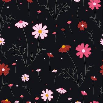 Бесшовные модели цветок и листья