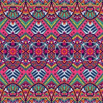 완벽 한 패턴 꽃 다채로운 민족 부족 기하학적 환각 멕시코 인쇄