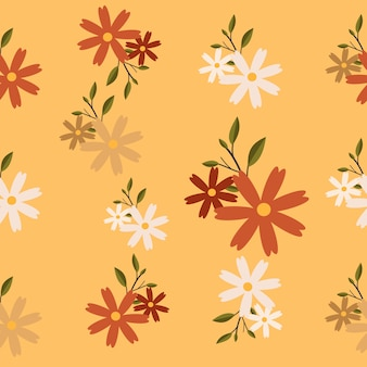 The seamless pattern of flower and leaf