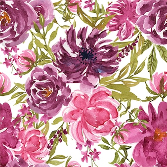 Seamless pattern of flower purple and pink watercolor for textile or background