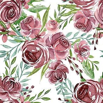 Seamless pattern of flower purple watercolor for textile or background