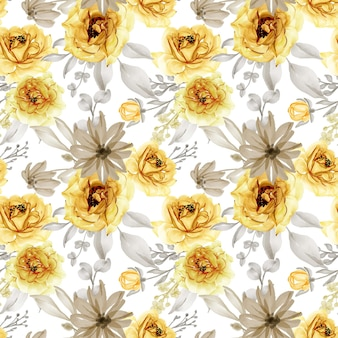 Seamless pattern of flower rose gold yellow and grey