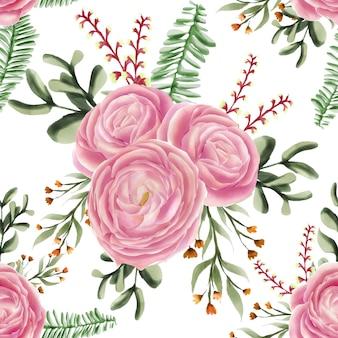 シームレスパターンの花ローズピンクの水彩画かわいい