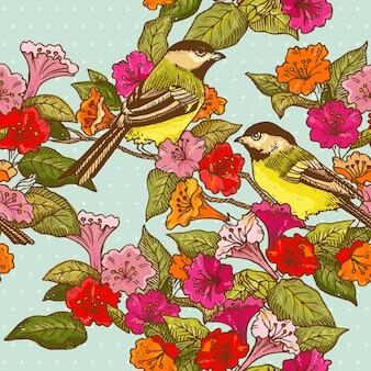 デザインのためのシームレスなパターンの花と鳥