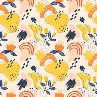 シームレスなパターンの花と要素のデザイン