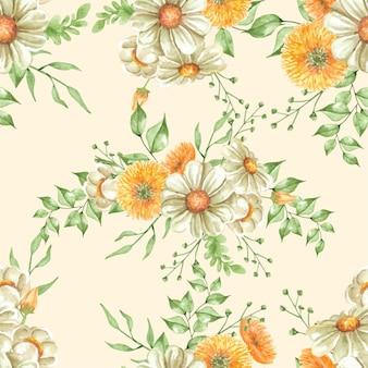 원활한 패턴 꽃과 나뭇잎 그림 수채화