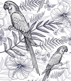Seamless pattern flowers and birds.