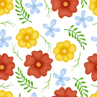 Seamless pattern flowers, forest green, gray leaves garland, white background.