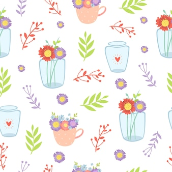 花瓶のシームレスなパターンの花