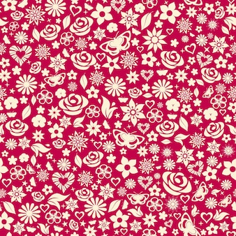 Seamless pattern of flowers, leafs, stars, butterflies and hearts. white on maroon.