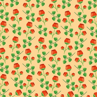 Seamless pattern flowers leaves foliage decoration