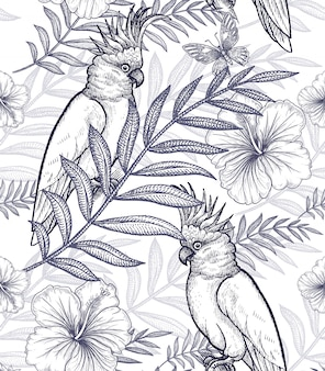 Seamless pattern flowers and parrots.