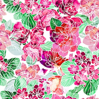 Seamless pattern, flowers with alcohol ink texture on background