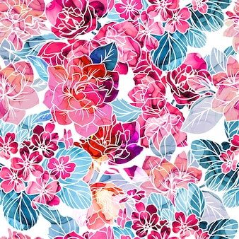 Seamless pattern, flowers with alcohol ink texture