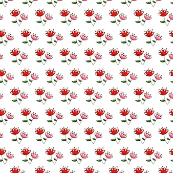 Seamless pattern flowers with leaves background