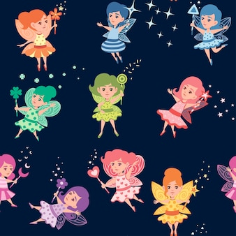 Seamless pattern of flying butterfly fairy with different shape magic wand and wearing colorful clothes cartoon character design flat vector illustration.