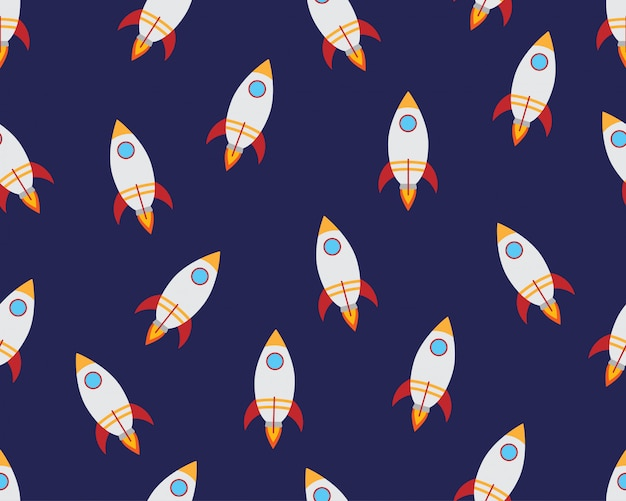 Seamless pattern of flying rocket