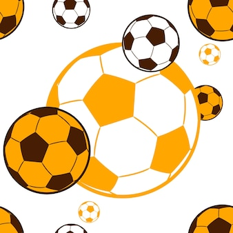 Seamless pattern flying soccer balls yellow brown color vector illustration white background