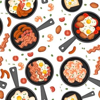 シームレスパターン。フライパンの食べ物。揚げ物、フライパンでの朝食。別の朝の食べ物のセット。