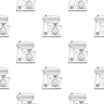 Seamless pattern. food processor on white background.  illustrations in sketch style