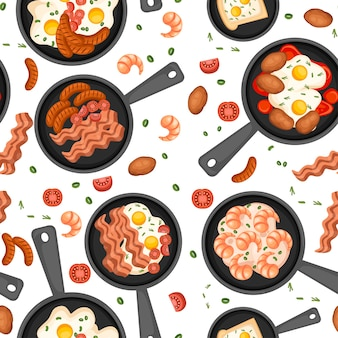 Seamless pattern. food in a skillet. fried food, breakfast on pan. set of different morning food.