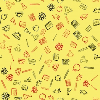 Seamless pattern for back to school card
