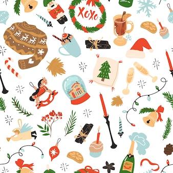休日の居心地の良い家の要素から物事を祝うクリスマスと新年のシームレスなパターン