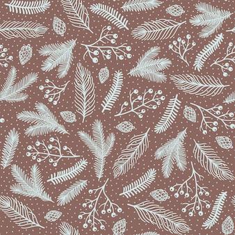 クリスマスのためのシームレスなパターン。枝、錐体、および多くの装飾的な要素を持つかわいい手描きのイラスト。