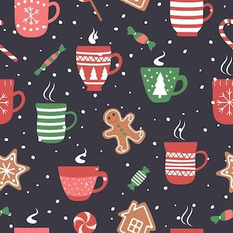 ココアチョコレートカップでクリスマス休暇のためのシームレスなパターン。