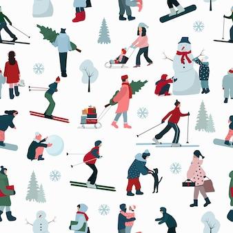 Бесшовный фон для рождественских праздников. люди зимой, лыжники, снеговик, дети на санках.