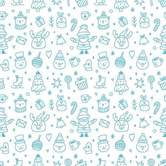 青い要素と白い背景の上のクリスマスのシームレスなパターン。