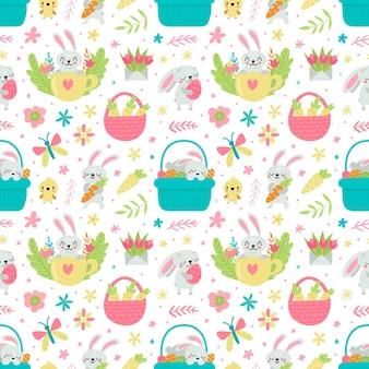 토끼와 계란 일러스트와 함께 부활절을위한 완벽 한 패턴